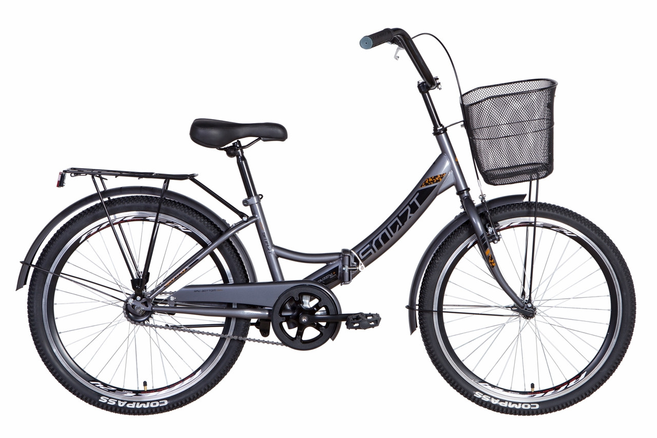 """Велосипед складний 24"""" Formula Smart Vbr з кошиком 2021 сіро-чорний"""