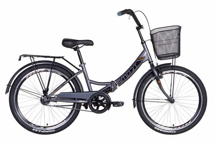 """Велосипед складний 24"""" Formula Smart Vbr з кошиком 2021 сіро-чорний, фото 2"""