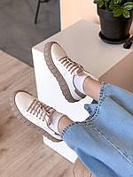 Женские кроссовки из натуральной кожи на модной рельефной подошве