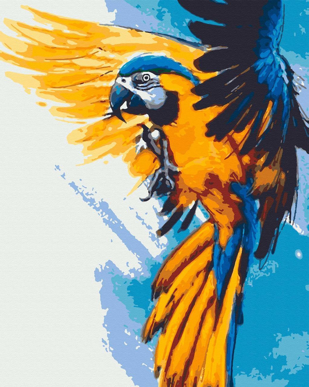Картина по номерам птицы 40х50 Летящий огонь