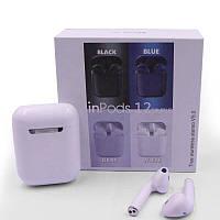 Беспроводные Bluetooth наушники с сенсорным управлением Inpods i12 macaron белые матовые с кейсом для зарядки