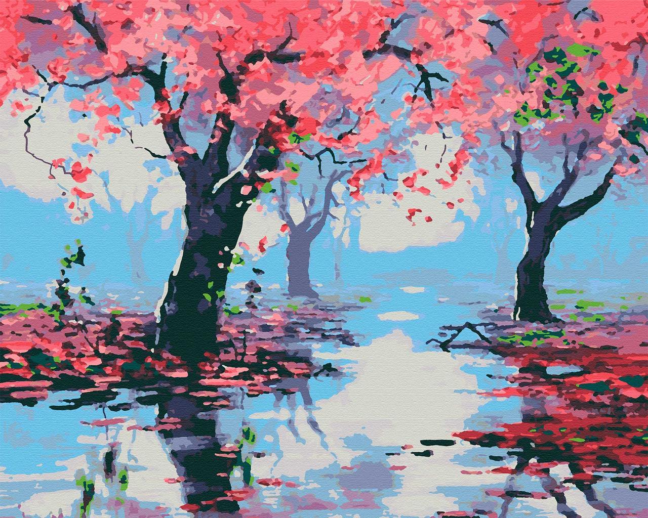 Картина по номерам пейзаж 40х50 Сакура после дождя