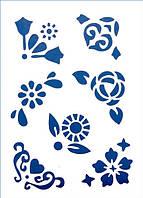 Трафарет 22х33 см Цветы и сердца