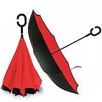 Парасолька жіночий напівавтомат umbrella № F08-F червоний, 8 спиць, поліестер, сталь, ручка С - подібна,