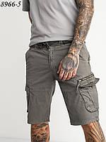 Мужские  шорты стейч.  карманами карго черные
