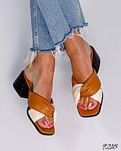 Женские кожаные босоножки шлепанцы с квадратным носком на устойчивом каблуке