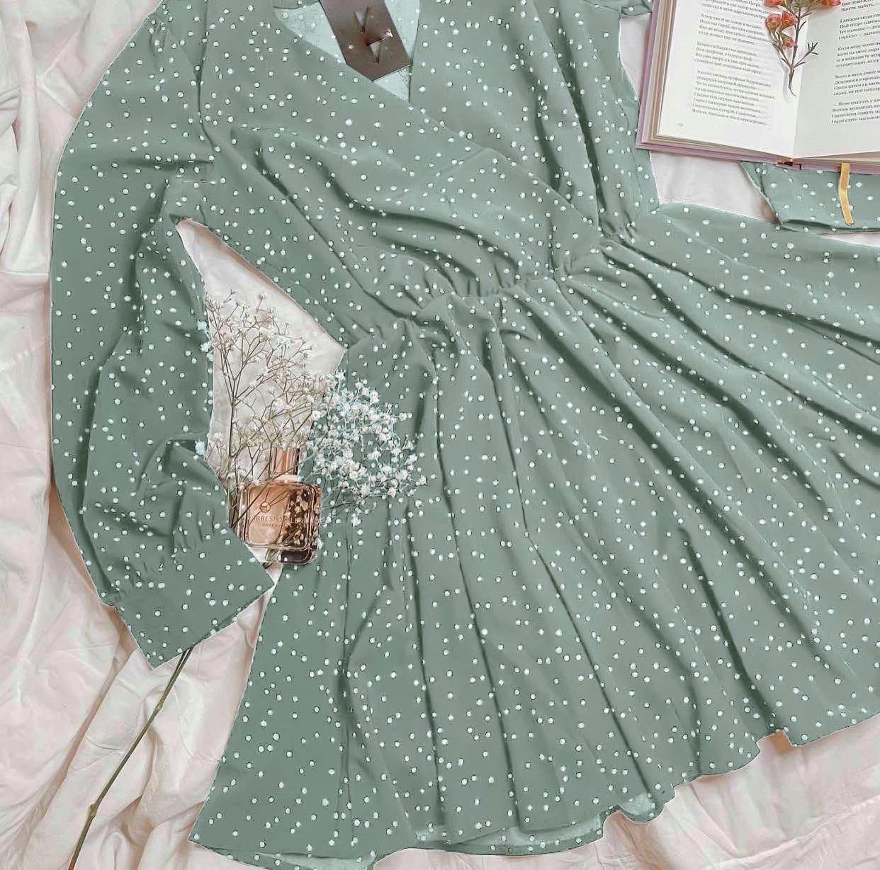 Женское платье, софт, р-р универсальный 42-46 (оливковый)
