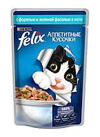 Пауч для кошек Felix, 100 г, с форелью и зеленью 12230806