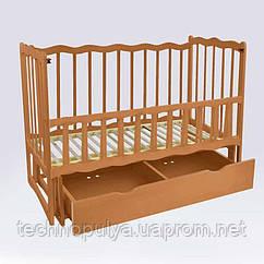 Кроватка деревянная маятник с шухлядой и откидным бортиком Волна Ольха светло-коричневая (74160)