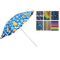 Зонт пляжний Stenson MH-1096, діаметр 2.2 м, срібне напилення, різні забарвлення, метал, в чохлі, пляжний парасольку, парасолька для пляжу, парасоля від сонця