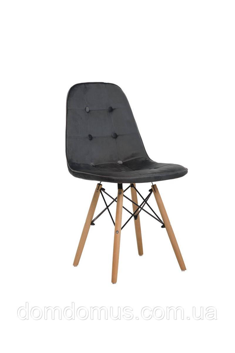 Стул M-01 вельвет + деревянные ножки (бук), серый,Фабрика Vetro Mebel