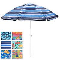 Зонт пляжний антиветер Stenson d2,2м, срібло, 8 спиць, в чохлі, пляжний зонт, парасольки від сонця