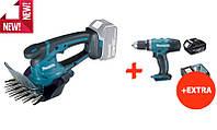 Аккумуляторные ножницы для травы Makita DUM604Z+аккумуляторная дрель-шуруповерт Makita DDF453RFX7, КОД:
