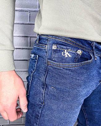 Джинси для чоловіків Calvin Klein Синій Стильні Демісезонні Ідеальна посадка чоловічих джинсів Осінь Весна, фото 2
