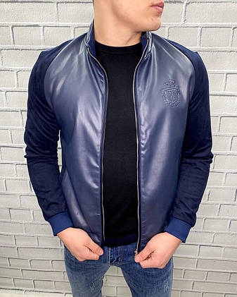 Куртка Весняна чоловіча Billionaire Темно-синій L Демісезонна Стильна, Еко-шкіра Не продувається для чоловіків, фото 2