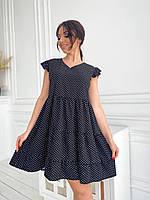 Летнее женское ярусное платье в горошек батал, фото 1