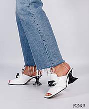 Женские кожаные мюли шлепанцы на каблуке рюмочке