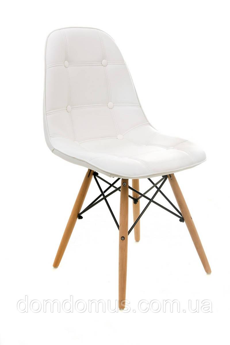 Стілець для кухні, кафе, штучна шкіра + дерев'яні ніжки (бук), білий, Фабрика Vetro Mebel