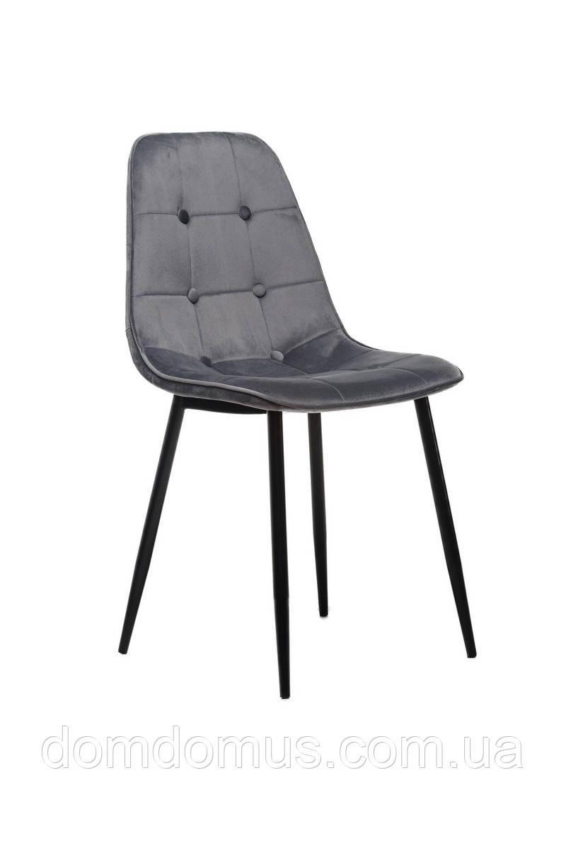 Стул  вельвет + крашеный металл (черный), серый,Фабрика Vetro Mebel