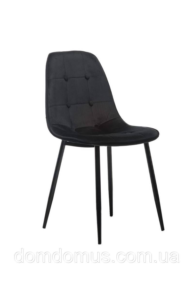 Стілець вельвет + фарбований метал (чорний), чорний, Фабрика Vetro Mebel