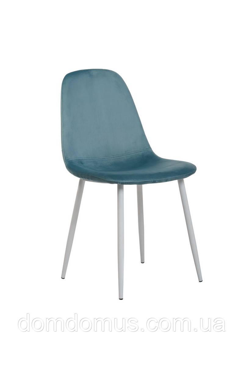 Стул  вельвет + крашеный металл (белый), голубой топаз,Фабрика Vetro Mebel
