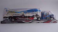 Игрушка машинка инерционный трейлер с большим самолетом 49-14-8,5см.Детский игрушечный Трейлер K 18-5  с самол