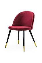 Кресло  вельвет +  крашеный металл (черный + золотой наконечник), красный, Vetro Mebel, Китай