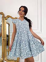 Летнее женское ярусное платье принт надписи, фото 1