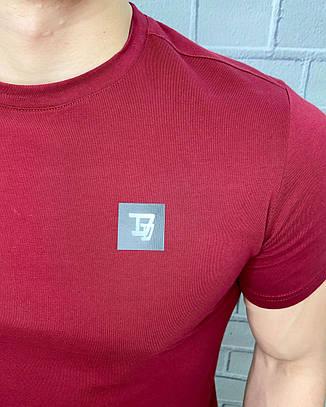 Футболка мужская Daniel Daaf Бордовая Однотонная Стильная Приталенная модель Футболки и майки мужские M, фото 2