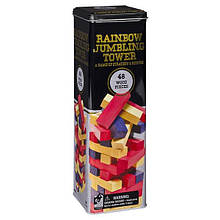 Настільна гра «Дженга з кольоровими смужками» (в жерстяній коробці)