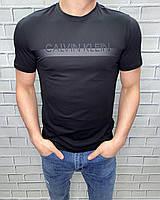 Мужская футболка Calvin Klein Черный Хлопковая Модная Приталенная модель Футболки и майки мужские Бренд