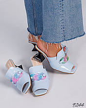 Женские голубые мюли шлепанцы с цепью на каблуке рюмочке