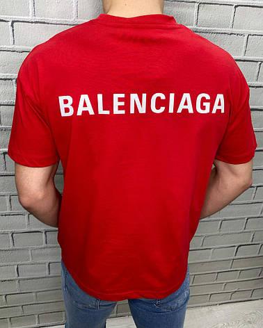 Футболка мужская брендовая Balenciaga Красная Люкс копия Хлопок Турецкое качество XL, фото 2