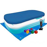 Детский надувной бассейн Intex 58484-3 прямоугольный, 305 х 183 х 56 см, с шариками 10 шт, подстилкой, тентом,