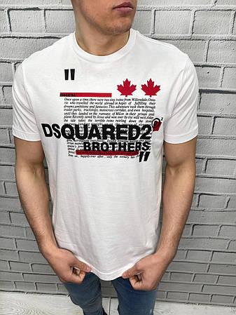 Мужская футболка брендовая Dsquared2 Люкс Копия Белая С логотипом Бренд Дискваред, фото 2