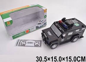 Іграшка Скарбничка - сейф з кодовим замком у вигляді поліцейська машина броньовик.