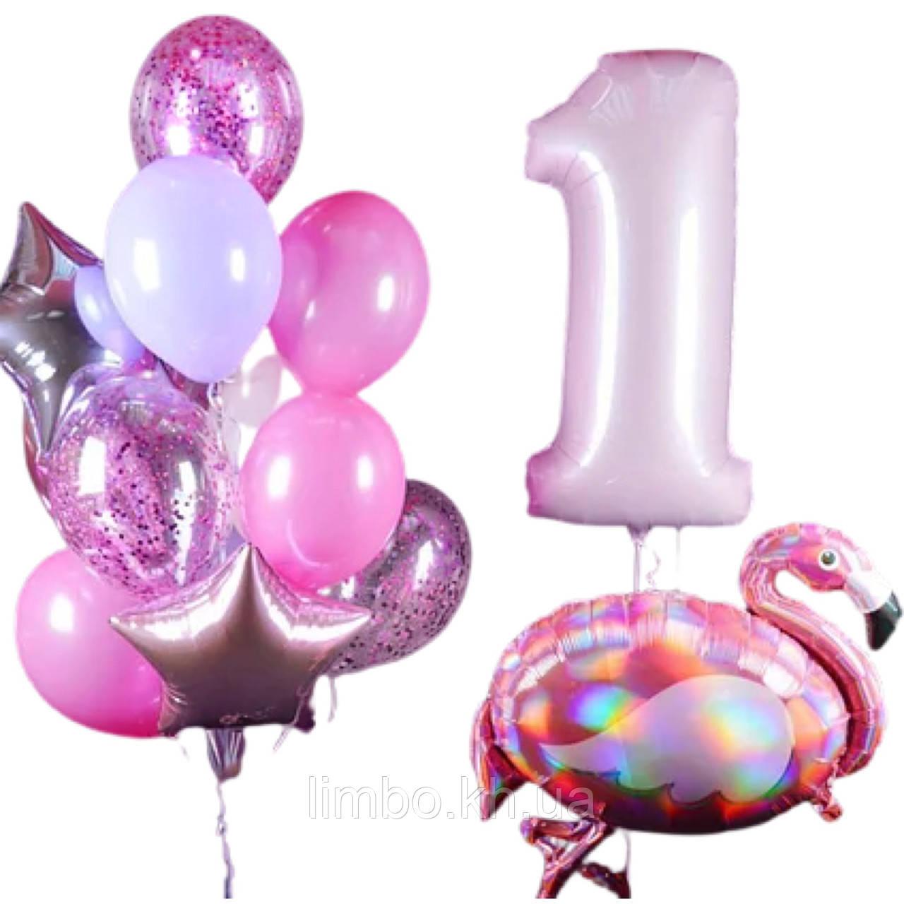 Кульки на день народження дівчинці з фольгированной фігурою фламінго і кулька цифра 1