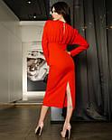 Платье футляр длины миди с вырезом на спине красный, фото 3