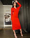 Платье футляр длины миди с вырезом на спине красный, фото 2