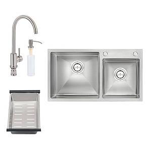 Набір 4 в 1 Qtap кухонна мийка S7843 Satin + змішувач + сушарка + дозатор для миючого засобу