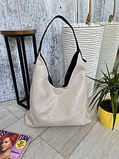 Сумка Shopper двухсторонняя 2в1 с клатчем черная с бежевым ШОП1, фото 3
