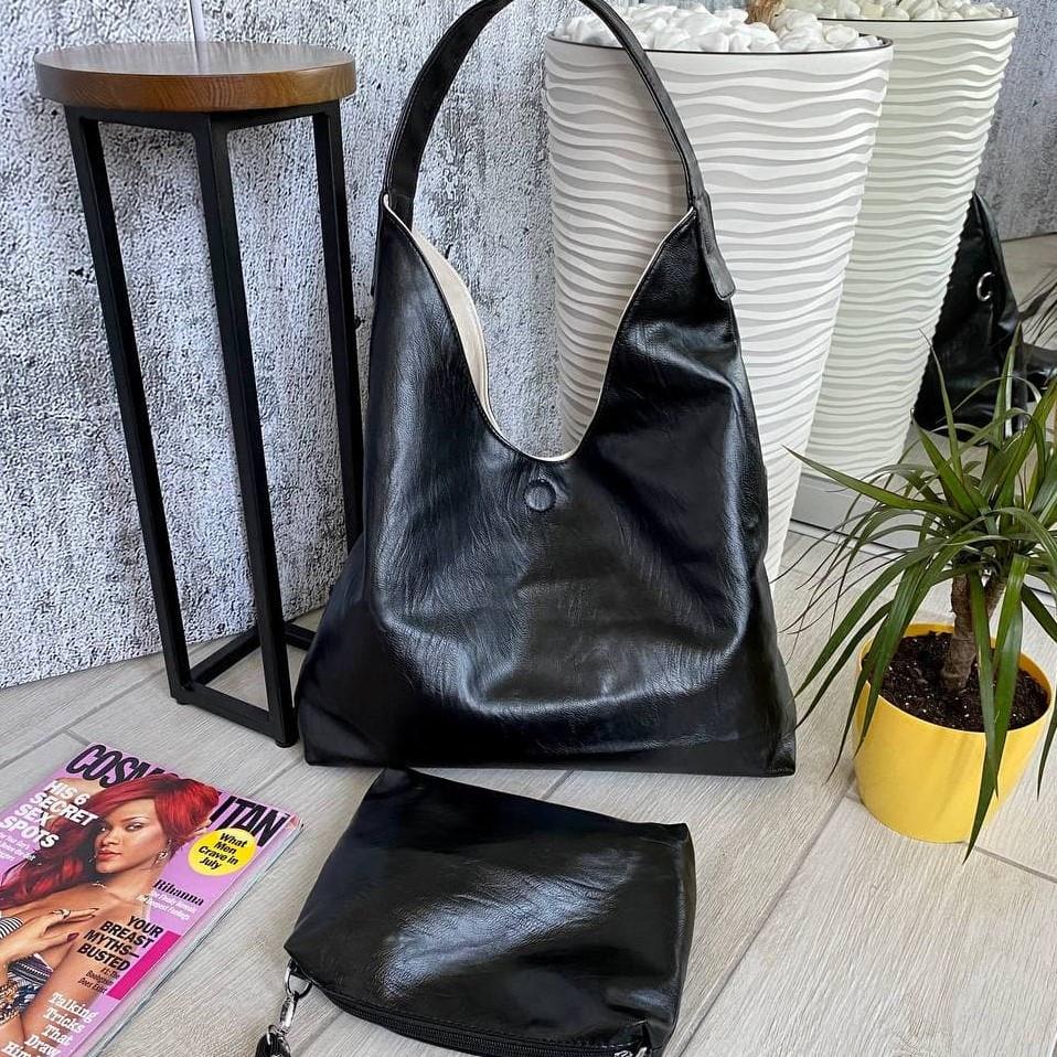 Сумка Shopper двухсторонняя 2в1 с клатчем черная с бежевым ШОП1