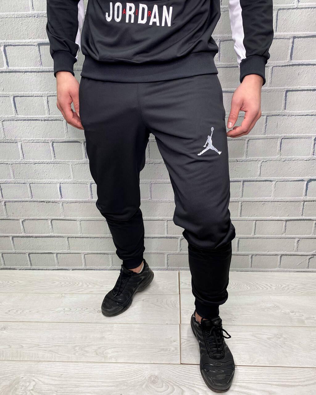 Спорт штаны мужские найк джордан от костюма Nike черные на манжете зауженные M
