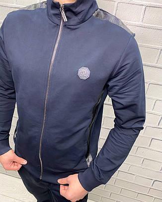 Спортивный костюм трикотажный Stefano Ricci Темно-синий для мужчин Стильный Демисезонный для прогулок и спорта, фото 2