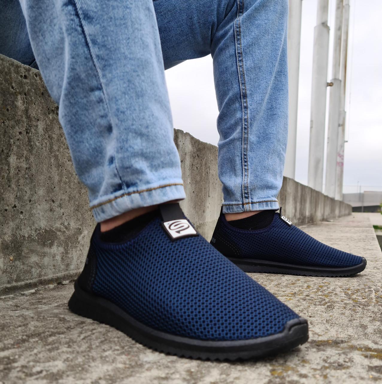 Кросівки літні чоловічі синього кольору мокасини (ПР-3902с)