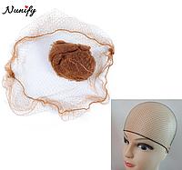 Сітка шапочка для волосся на ніч 2 штуки WE55C Коричнева. Шапочка для сну під перуку. Шапочка для волосся, фото 1