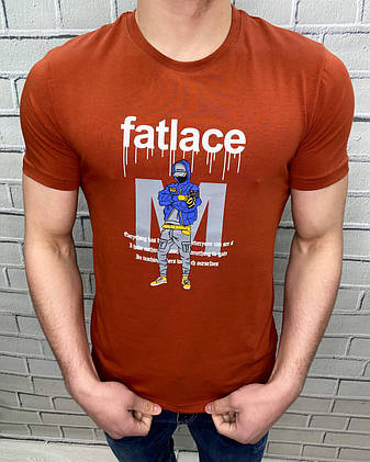 Мужская футболка яркая с рисунком Emperor Apparel Терракотовый S, фото 2