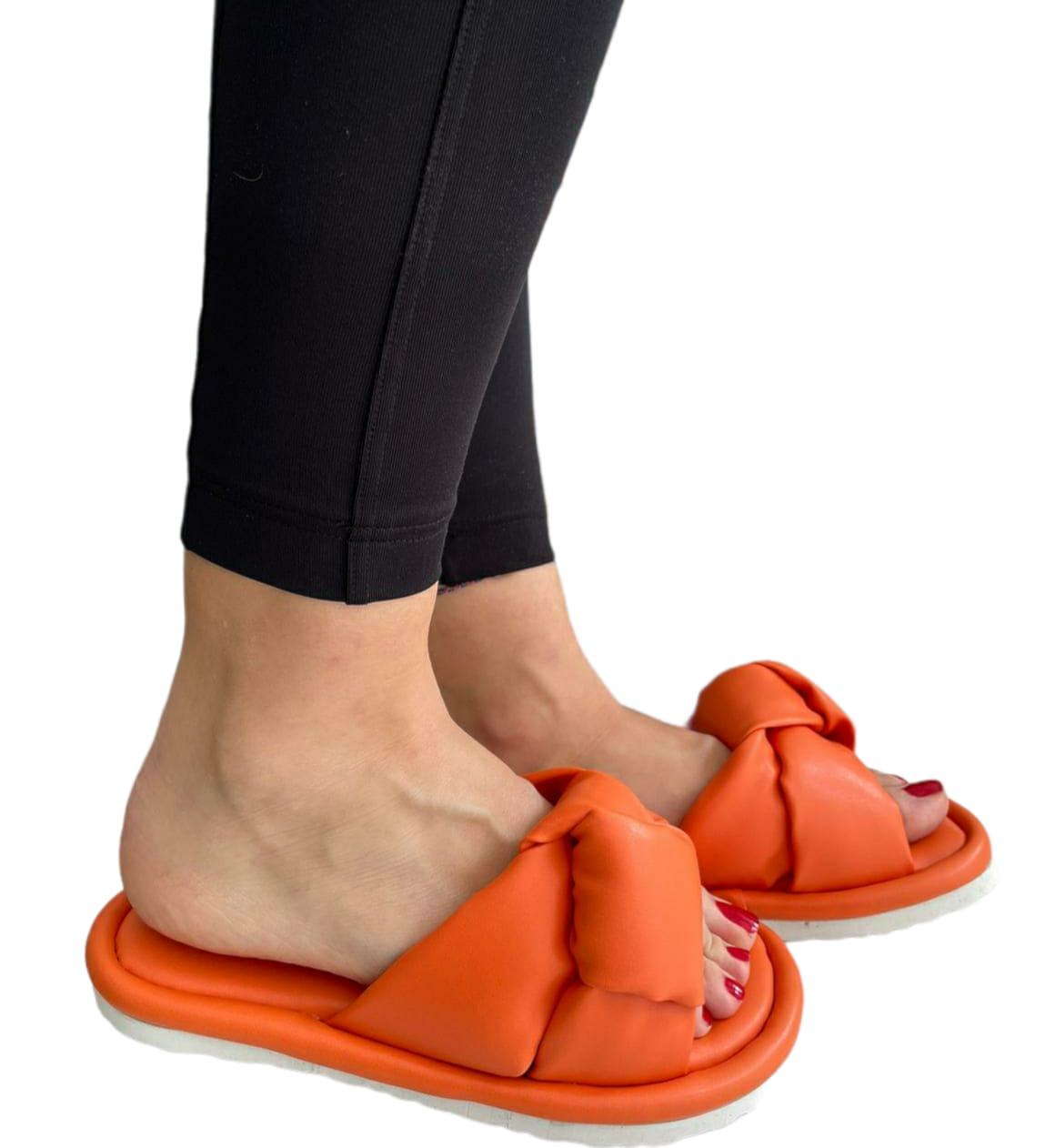 Шлёпанцы женские белый Оранжевый, 40