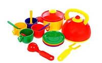 Детский игровой набор посуды с чайником и кастрюлей 70316, 16 предметов