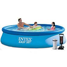 Надувной бассейн Intex 28143 - 4, 396 х 84 см (3 785 л/ч, подстилка, тент, насос)